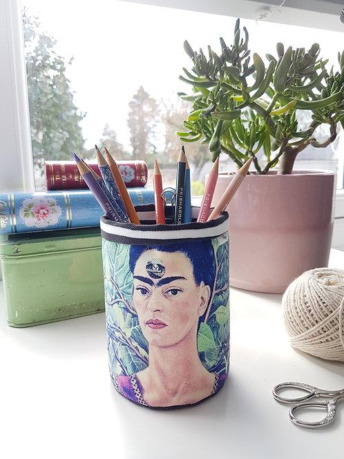 Frida Khalo pen pot, storage bin.