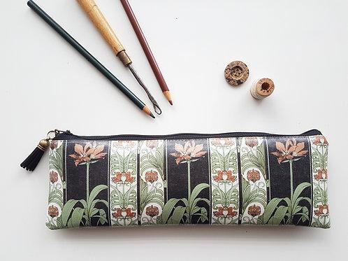 Art Nouveau pencil case,Vegan pencil, brush pouch.