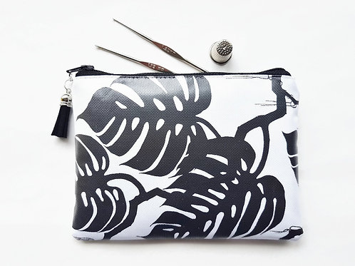 monochrome pouch, botanical print,cheese plant,swiss cheese plant print,leaves p