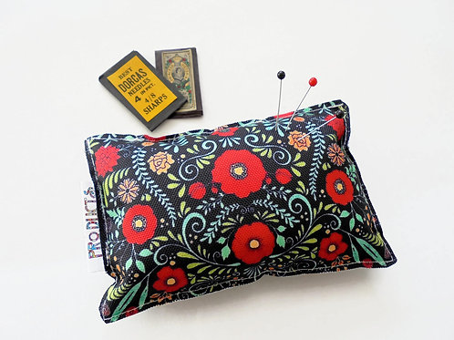 Sewing Gift, Canvas Pin cushion, Red Folky Floral, seamstress, tailor, crafter,