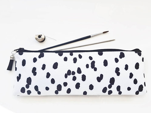 large pencil case,dalmatian print,dotty print,brush bag,Art gifts,pencil case