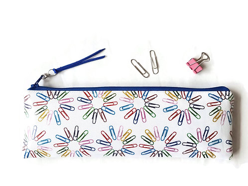 Vegan leather, colourful Paper clip print, XLong pencil case.