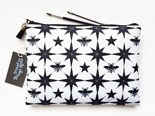 Large Wash bag,bees fabric,star fabric,black and white fabric, travel bag, cosme