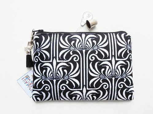 Monochrome, Art nouveau, small zipper bag, travel bag, wallet, zipper pouch.