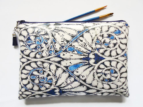 Indigo print large Vegan Makeup Bag,Cosmetic Bag
