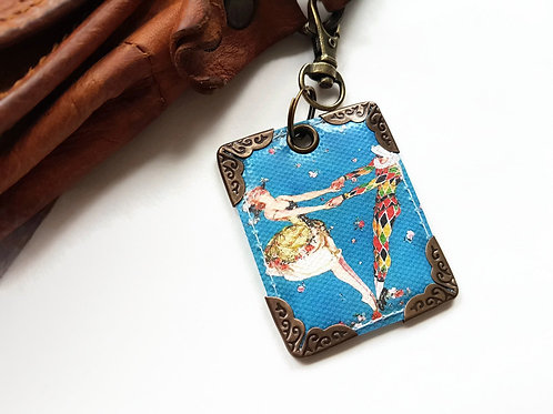 Harlequin keyring, bag charm, bag tag.