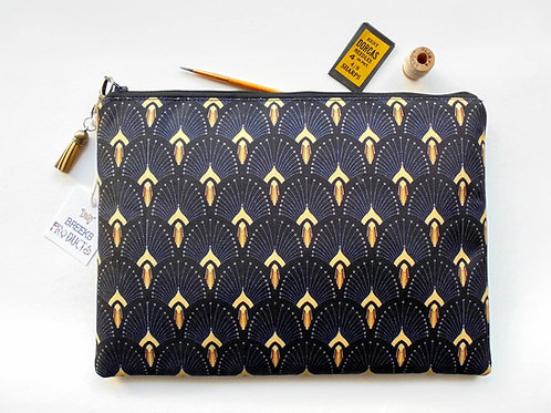 Art deco,fan print,the great gatsby, iPad sleeve 9.7,iPad air 2,toiletry bag