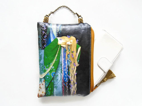 Fairytales hanging bag art, vegan faux leather zipper wallet