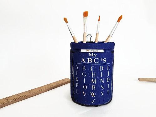 desk caddy,vintage ABC,vintage school,storage pots,wall grid storage