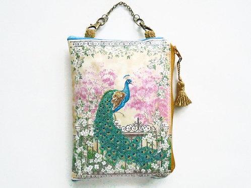 Peacock hanging wallet, vegan vinyl wallet.