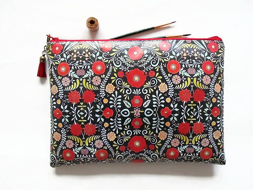 Red folky floral cosmetic bag, vegan faux leather make-up pouch.
