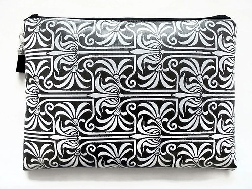 Art Nouveau inspired large cosmetic bag, vegan faux leather.