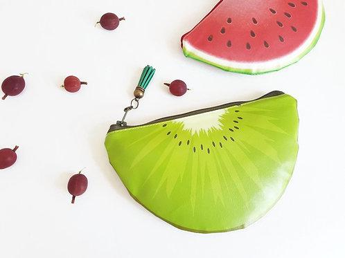 Kiwi fruit wallet,water resistant wallet,vegan leather bag,