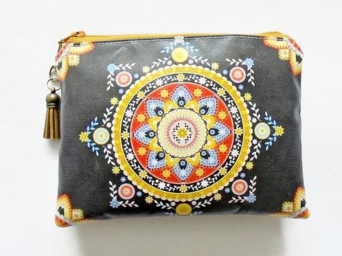 Boho blak and yellow floral faux leather vegan zipper pouch wallet.