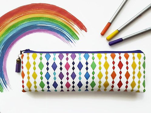Rainbow Pencil case,Art gifts,vegan vinyl pencil case.