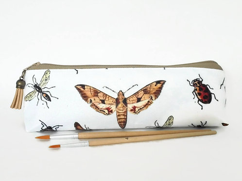 Art gifts, Insect print, pencil pouch, brush bag, art gift, student gift