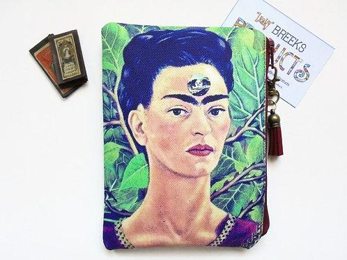 Mum gifts, Frida Khalo, mexican, self portrait, sewing pouch, zipper wallet, com