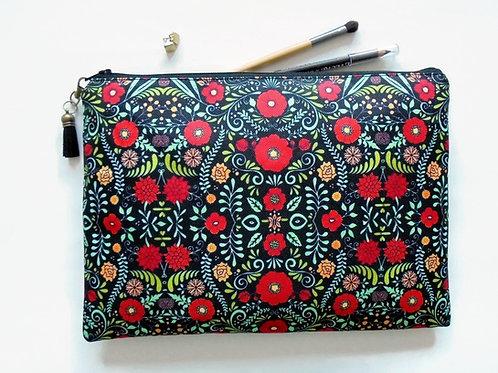 Gifts for her, Folky floral, folk pocket bag, travel bag, cosmetic bag, zip bag,