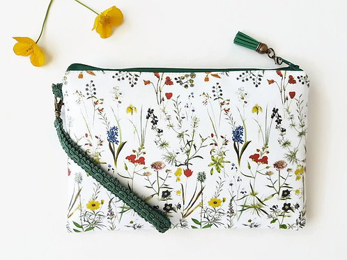 Faux leather botanical green wristlet clutch,credit card pockets and phone seper