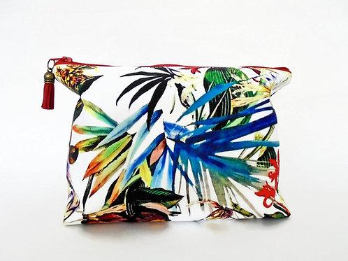 Canvas Wash bag, tropical, jungle, jungalow, dumpy bag, boxy bag,, travel bag