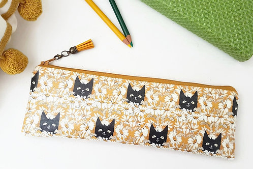 Art gifts, Waterproof Pencil Case,Cats fabric,Daisies print