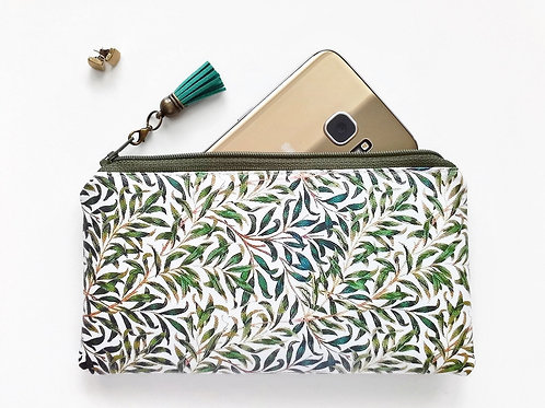 Phone sleeve,phone pouch,phone wallet,phone storage,leaves fabric,