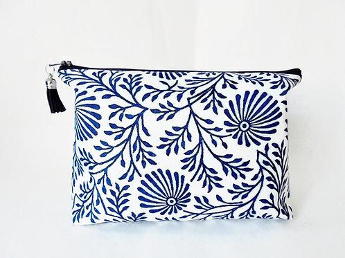 Canvas Wash bag, Blue Indian print, Block print, dumpy bag, boxy bag