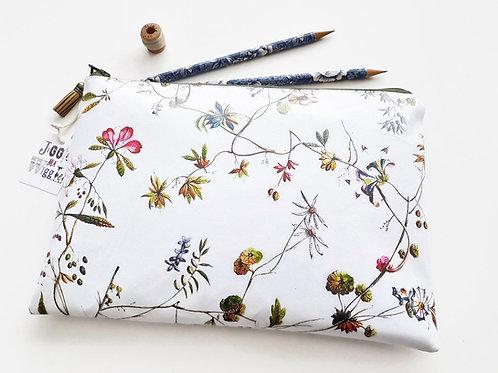 Botanical print Washbag,floral cosmetic bag,flowers,ditsy sleeve,floral makeup b