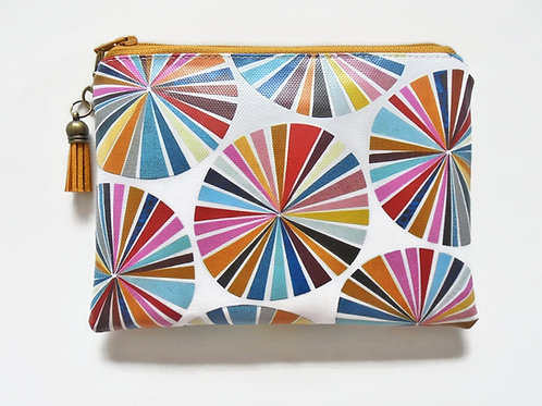 Colour wheel vegan faux leather zipper wallet.