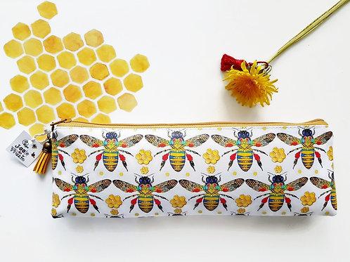 Honey bee print, bumble bees fabric,vegan leather,brush bag,crochet storage,pen