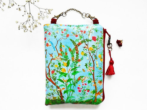 Chinoiserie hanging wallet vegan bag.