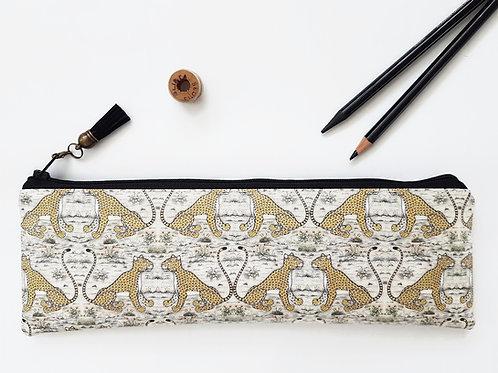 Cheetahs pencil case, water resistant outer vegan XLong brush bag.
