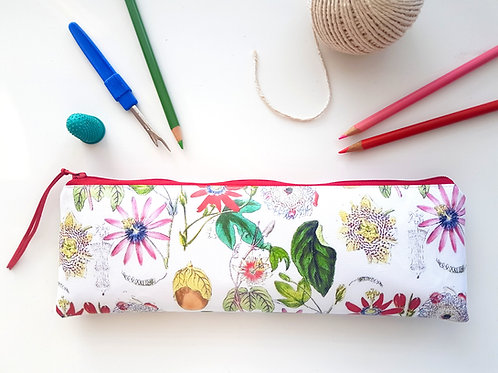 Exuberant Floral pencil case,Vegan pencil, brush pouch.