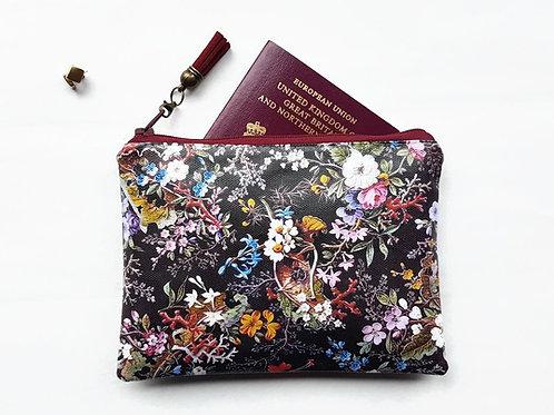 Antique berry floral vegan wallet, zipper pouch.