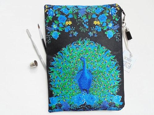 Peacock and floral, sturdy wash bag, travel bag, cosmetic bag, zip bag, make up