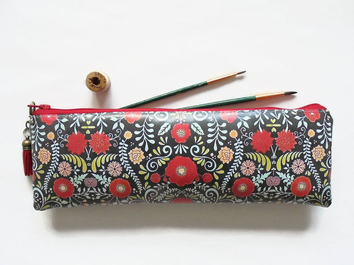 folk, folky, florals, brush bag, crochet storage, pen pouch, pencil bag