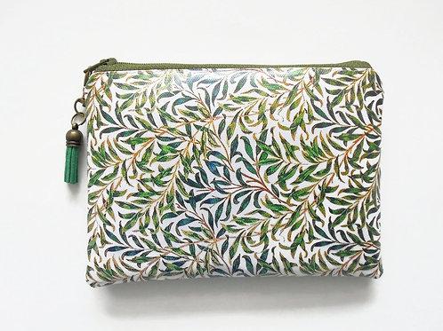 Grass green zipper wallet in eco vegan vinyl.