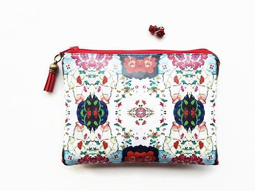 Eclectic floral, vegan, water resistant zipper wallet.