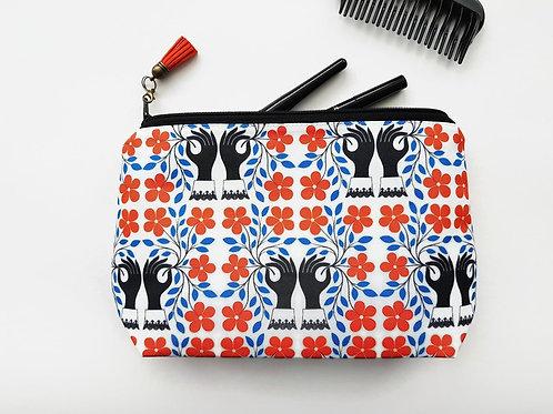 Large Make-up Bag,mothers day gift,wash bag,womens gift ideas,orange and black