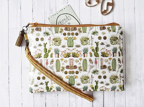 Cacti Wallet Wristlet, Vegan leather product.