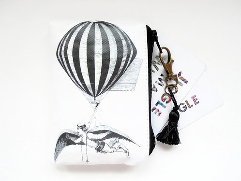 Aerialistsmall zipper wallet, coin purse, vegan vinyl wallet.