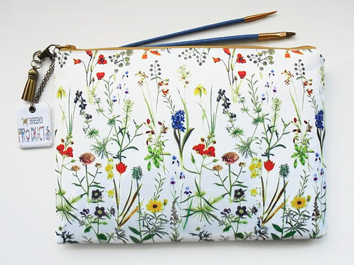 botanical,flower stems,travel bag, cosmetic bag, zip bag, make up bag, wash bag,