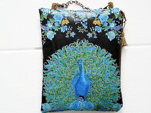 Peacocks vegan cosmetic bag,faux leather zipper cosmetic bag.