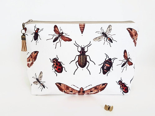 Bugs,moths,insects wash bag,dumpy bag,toiletries bag,cosmetic bag, zip bag, make