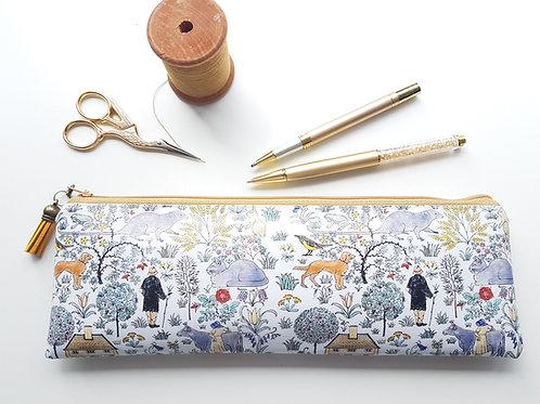Farmhouse pencil case,Vegan pencil, brush pouch.