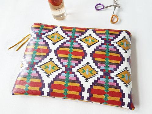 Native American, Faux Leather, Spiced Mango vegan water resist wash bag.
