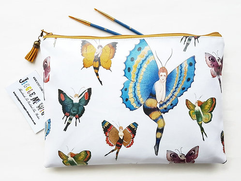 1920s,girl with wings,butterflies faux leather washbag, vegan cosmetic bag.