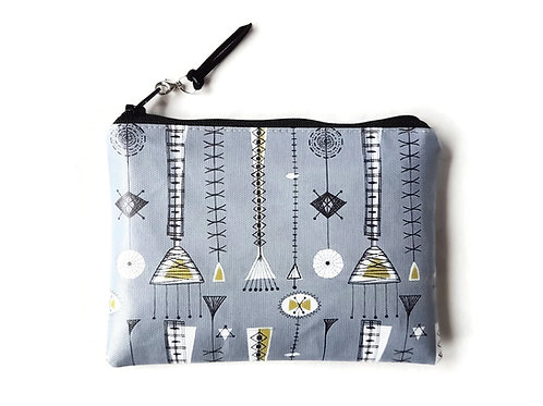 Grey Mid-century modern vegan vinyl zipper wallet.
