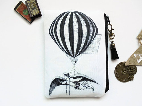 Hot air Balloon Pouch, steampunk bag, dark victorian, gothic, sewing pouch