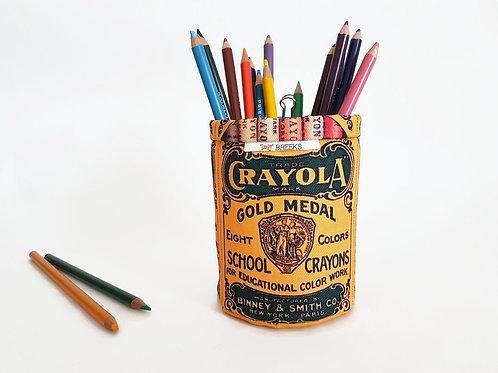 Pencil caddy,Vintage crayons label, storage pots,wall grid storage,bulldog clip,